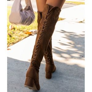 Over The Knee Chunky Low Heel Lace Up Boots